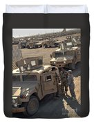 U.s. Army Soldier Speaks With Iraqi Duvet Cover by Stocktrek Images