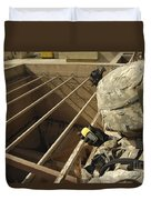 U.s. Army Soldier Takes A Gps Grid Duvet Cover by Stocktrek Images
