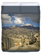 U.s. Army Soldier Walks Down A Path Duvet Cover by Stocktrek Images