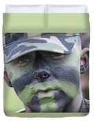 U.s. Army Soldier Wearing Camouflage Duvet Cover by Stocktrek Images