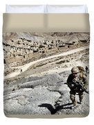 U.s. Army Soldiers And Afghan Border Duvet Cover