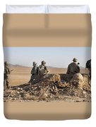 U.s. Army Soldiers At A Checkpoint Duvet Cover