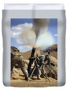 U.s. Army Soldiers Firing A 120mm Duvet Cover