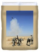 U.s. Army Soldiers Firing An M120 120mm Duvet Cover by Stocktrek Images