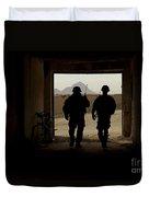 U.s. Army Soldiers Patrol A Village Duvet Cover