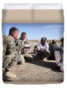 U.s. Army Soldiers Speak With Elders Duvet Cover