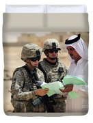 U.s. Army Soldiers Talking With A Town Duvet Cover by Stocktrek Images
