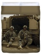 U.s. Army Soldiers Waiting At Patrol Duvet Cover