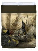 U.s. Army Specialist Takes A Nap Duvet Cover