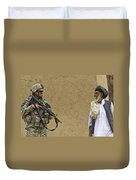 U.s. Army Specialist Talks To An Afghan Duvet Cover