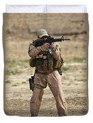 U.s. Contractor Firing A M4 Carbine Duvet Cover