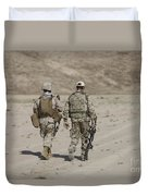 U.s. Marine And German Soldier Walk Duvet Cover