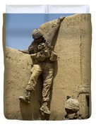 U.s. Marine Climbs Down From An Duvet Cover