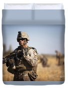U.s. Marine During A Security Patrol Duvet Cover