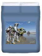 U.s. Marine Firefighters Stand Ready Duvet Cover