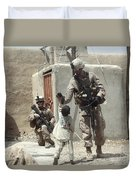U.s. Marine Gives An Afghan Child Duvet Cover