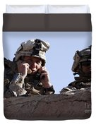 U.s. Marine Gives Directions To Units Duvet Cover