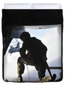 U.s. Marine Looks Out The Back Duvet Cover