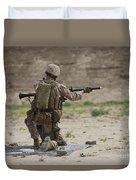 U.s. Marine Prepares A Fragmentation Duvet Cover