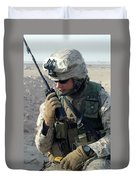 U.s. Marine Uses A Mbitr Anprc-148 Duvet Cover by Stocktrek Images