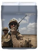 U.s. Marine Uses A Radio In Djibouti Duvet Cover by Stocktrek Images