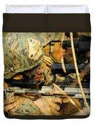 U.s. Marine Uses A Spotting Scope Duvet Cover