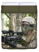 U.s. Marine Videotapes Combat Exercises Duvet Cover
