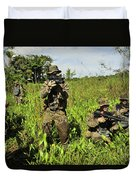 U.s. Marines Guard An Extraction Point Duvet Cover