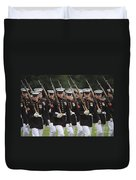 U.s. Marines March By During The Pass Duvet Cover