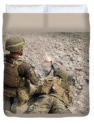 U.s. Marines Provide Suppressive Fire Duvet Cover