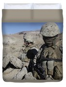 U.s. Marines Take A Break Duvet Cover