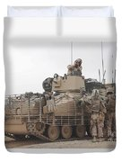 U.s. Marines Talk With A British Duvet Cover by Stocktrek Images