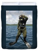 U.s. Navy Diver Jumps Off A Dive Duvet Cover