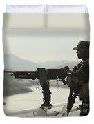 U.s. Navy Petty Officer Stands Watch Duvet Cover