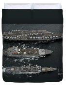 U.s. Navy Ships Conduct A Replenishment Duvet Cover
