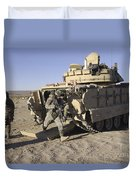 U.s. Soldiers Exit From An M2 Bradley Duvet Cover