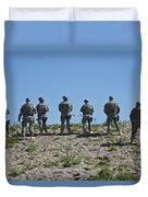 U.s. Soldiers Looking Over The Side Duvet Cover