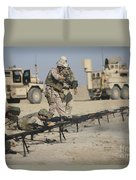 U.s. Soldiers Prepare To Fire Weapons Duvet Cover by Terry Moore