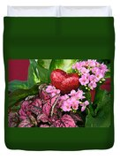 Valentine Heart And Flowers Duvet Cover