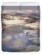 Valley Stream In Winter Duvet Cover