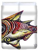 Variegated Red Fish In Stipple Duvet Cover