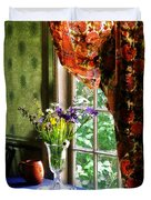 Vase Of Flowers And Mug By Window Duvet Cover