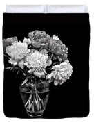 Vase Of Peonies In Black And White Duvet Cover