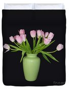 Vase Of Pink Tulips Duvet Cover