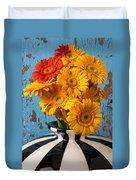 Vase With Gerbera Daisies  Duvet Cover