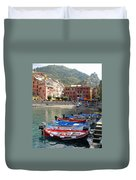 Vernazza's Harbor Duvet Cover