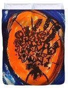 Victorian Contemporary Flowers In Blue And Orange Vortex Swirls Acrylic Monoprint Serigraph Duvet Cover