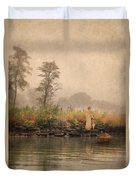 Victorian Lady By Row Boat Duvet Cover