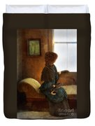 Victorian Lady Gazing Out The Window Duvet Cover