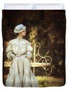 Victorian Lady On Garden Bench Duvet Cover